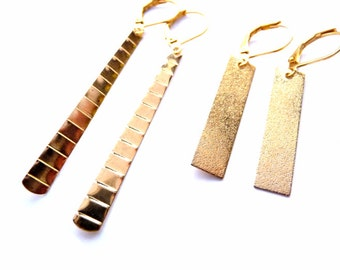 Gold Earrings, Bar Earrings, Gold Bar Earrings, Hammered Earrings, Hammered Gold, Earrings, Gold Plated Earrings, Minimalist Earrings,