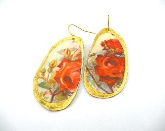 Red earrings, red gold earrings, Boho Earrings, Shabby chic earrings, Shabby chic, red rose earrings, roses, vintage rose, vintage roses,
