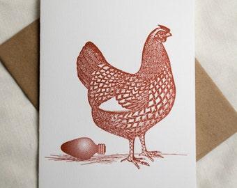 Holiday Hen Letterpress Card