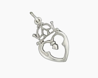 Sterling Silver Celtic Luckenbooth Charm Pendant Scottish Scotland Crown Heart