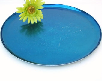 Vintage Aluminum Tray, Blue Tray, Metal Serving Platter, Round Sapphire Tray