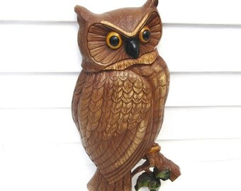 Owl Wall Hanging / Syroco Wall Decor,  1960s Woodland Owl - Large Plastic Plaque
