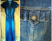 Vintage 90s Denim Jumpsuit Stonewashed Jeans Distressed Belted Pantsuit Indigo Bell bottoms Overalls S 34 bust