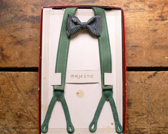 Vintage Boys Green Suspenders and Bow Tie Set in Original Box by Majestic Junior