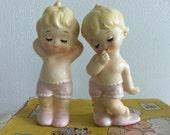 Vintage Kewpie Pair - Kewpie Dolls, Boy and Girl Kewpies, Ceramic Kewpies, Hand-Painted, Antique Shop Find, Collectible, Gift Idea