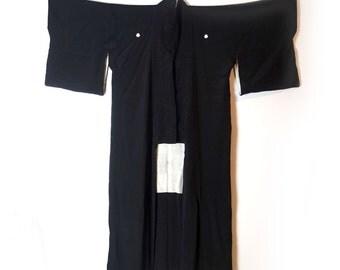 Vintage Japanese black silk full length kimono robe, plum blossom family crest, Japanese dressing gown sz M