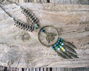Thunderbird Dream Catcher Necklace // Feather Dream Catcher Necklace, Feather Fringe, Peyote Bird Jewelry, Native American, Tribal