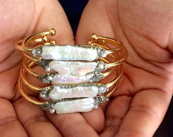 Pearl Bracelet// Cuff Bangle Bridal Jewelry //Bridesmaid Gifts//  Herkimer and Pyrite Crystal Mineral Jewelry