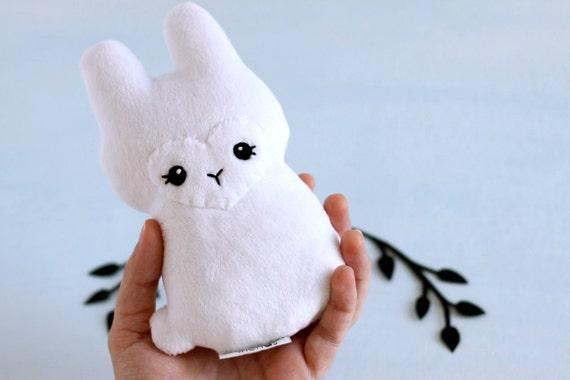 White Rabbit Plushie. Stuffed Animal, Little Bunny Doll, Minky Plush, Bunny Rabbit Softie, Cute Stuffie, Cottontail Bunny Toy, White Hare