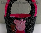 Little Girls Black/White Spotted Bag with Peppa Pig Embroidery Design