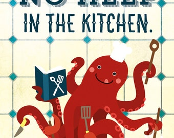 "Octopus Kitchen Poster 16""x23"", Le Chef, Cooking Octopus, Art Print, Animal Art Print, Illustration, Vector Art, Kitchen Poster"