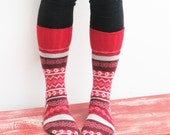 Women's slipper socks made from recycled wool sweaters sz 6/7
