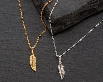Gold Feather Charm Necklace, Silver Feather Charm Necklace - Layered Necklace - Minimalist Everyday Jewelry - Layering Jewelry