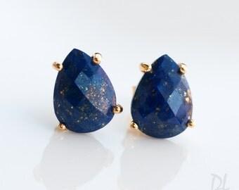 Blue Lapis Lazuli Stud Earrings - Gemstone studs - Gold Stud Gemstone Earrings - Tear drop Stud - Prong Set studs