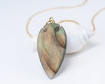 Labradorite Necklace - Arrow Head Pendant - Boho Chic Jewelry - Gold Necklace - Layering Necklace - Stone Pendant - Gift for Her