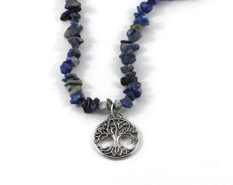 Tree of life Evil Eye Inspirational Jewelry Gift Mothers Day Lapis Lazuli Long Beaded Necklace Boho Fashion Natural Jewelry Girlfriend Gift