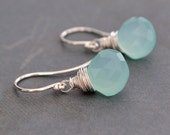 Handmade Aqua Chalcedony Earrings, Sterling Silver Hoops,  Gift Under 25