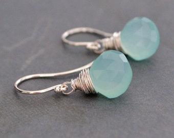 Handmade Aqua Chalcedony Earrings, Sterling Silver Hoops,  Gift Under 25