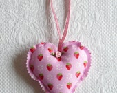 Handmade Cute Pink Strawberry Heart Ornament Fabric Hearts  europeanstreetteam