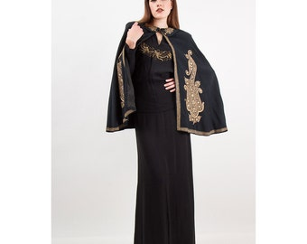 Vintage wool cape / 1930s Indian Persian fine metallic embroidery