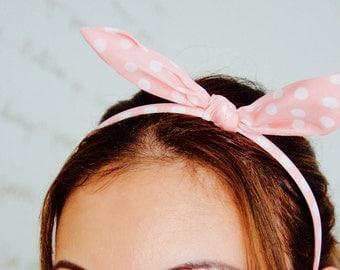 Skinny Bunny Bow Ears Headband -  Pink and White Polka Dot Bow Ears Headband