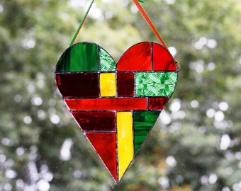 Summer, Winter, Springtime and Harvest Stained Glass Patchwork Hearts Wall Panels