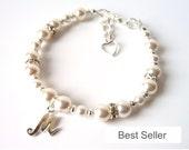 Flower Girl Gift, Flower Girl Bracelet, Pearl Bracelet, Flower Girl Jewelry, Kids Jewelry, Initial Bracelet, Toddler Jewelry, Personalized