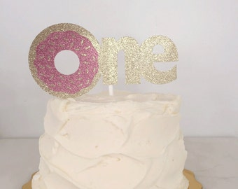 Donut One Glitter  Cake Topper // First Birthday Smash Cake Topper // Photoshoot Prop
