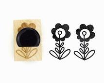 Rubber Stamp Scandinavian Design Minimal Flower - Hand Drawn Stamp Design