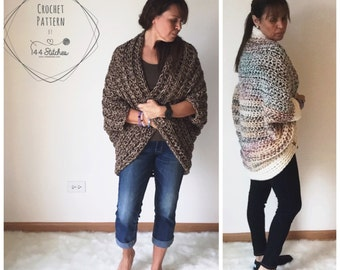 Set of TWO Patterns for Crochet Shrugs, Crochet Sweater Pattern, The Kimono Shrug Crochet Pattern, Instant PDF Download
