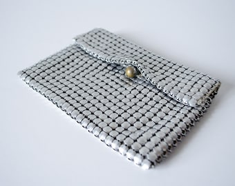 50% OFF SALE / 1960s vintage purse / small silver mesh clutch