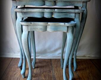 Italian Florentine Nesting Tables ~ Mid Century ~ Hollywood Regency
