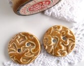 Handmade buttons ~ 2 round porcelain buttons, unique ceramic button, sewing supplies, knitting supply, crafts jewellery textiles projects
