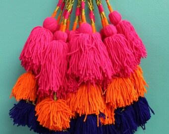 Put a Tassel On It : Triple Pom Camel Swag Pom Pom, Tassel, Decor, Bohemian, Gypsy Fashion Design Supply, Neon Colors, Purse Charm, 1 pc.
