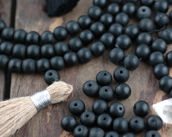 8mm Fossil Stone Shaligram Black Round Beads, 10 beads from Nepal, Boho, Yoga, Mala Style, Jewelry Making, Craft Supplies, Dark, Earthy