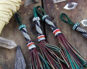 Black & White Long Tube African Tuareg Goat Leather Tassel / Tribal, JewelryMaking Supply, Accessory, Keychain, Purse Charm, Swag, 1 Piece