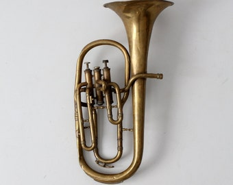 FREE SHIP  vintage brass horn, baritone musical instrument