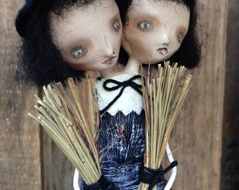 The Twins Goth Halloween Witch Folk Art Paperclay