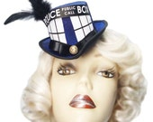 Tardis Mini Doctor Who Inspired Top Hat Victorian Steampunk Fascinator Cosplay 3