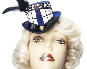 Tardis Mini Doctor Who Inspired Top Hat Victorian Steampunk Fascinator Cosplay