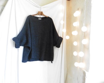 Anthracite Tunic in Boiled Wool - Raglan Wide Sleeves - Slouchy and Warm.  Black,Taupe and Brown also now in stock.  FREE SHIPPING