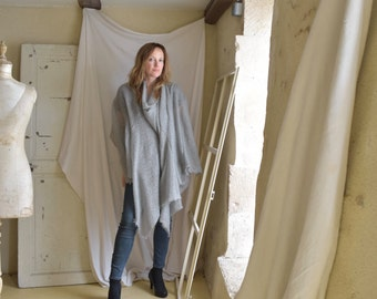 Grey Loose Knit Poncho Wrap -  Long Scarf or Summer Cover Up - Ready to Ship as seen