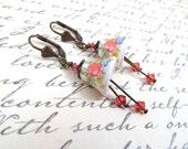 Porcelain Coral Bell Flower Earrings - Split Personality Designs