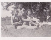 Local Swimming Hole- 1940s Vintage Photograph- Women in Swimsuits- 40s Bathing Suit- Found Photo- Bikinis- Friends Snapshot- Paper Ephemera