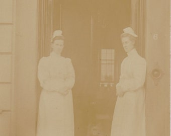 Ghost Ward No. 6- 1900s Antique Photograph- Edwardian Nurses- Creepy Dog- Found Photo- Real Photo Postcard- RPPC- Paper Ephemera
