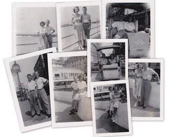 Boardwalk Rickshaw- 1940s Vintage Photographs- SET of 8- Atlantic City, NJ- Chelsea Hotel- New Jersey Tourists- Found Photos- Paper Ephemera