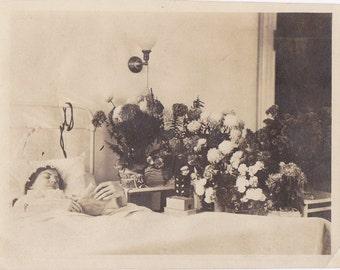 Influenza- 1910s Antique Photograph- Spanish Flu Pandemic 1918- Sick Woman- Hospital Room- Reading in Bed- Historical Photo- Paper Ephemera