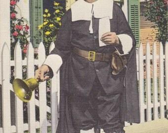 Town Crier- 1950s Vintage Postcard- Provincetown- Cape Cod, Mass- Massachusetts- Colonial Pilgrim- Costume- Souvenir- Paper Ephemera- Unused