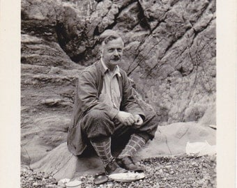 Hiker's Brunch- 1930s Vintage Photograph- Mountain Hike- Colorado Man- Rockies Landscape- Found Photo- Cabin Decor- Paper Ephemera