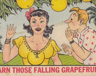 Darn Those Falling Grapefruit- 1950s Vintage Postcard- Three Breasted Woman- Circus Freak- Sideshow Act- Comic Postcard- Paper Ephemera